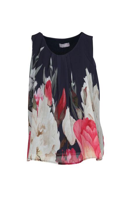 Bloes met riet- en bloemenprint - Marineblauw