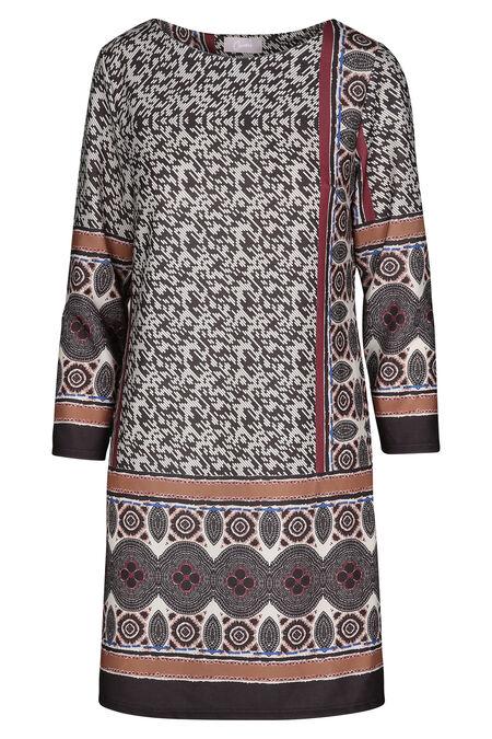 Jurk in bedrukt tricot - Camel