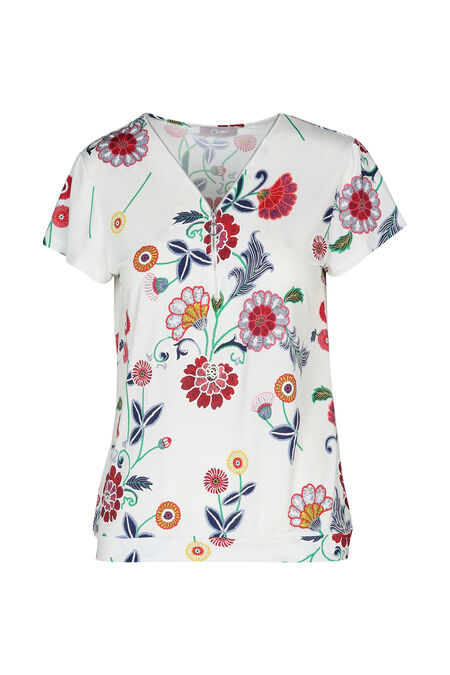 T-shirt met bloemenprint en gom - Ecru
