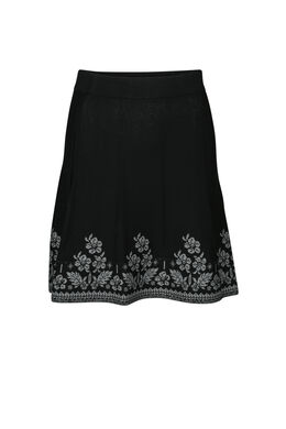 Jupe motifs de fleurs, Noir