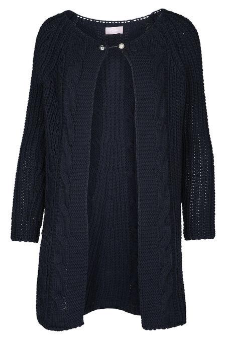 Lange gebreide cardigan - Marineblauw