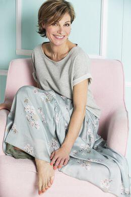 Lange rok met Japanse print, Amandelgroen