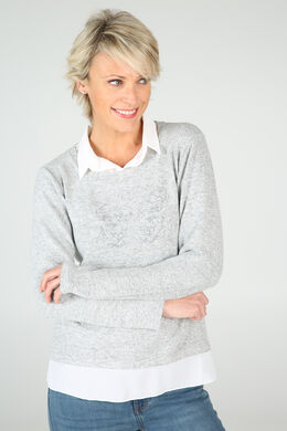 Pull col chemise, Gris-clair