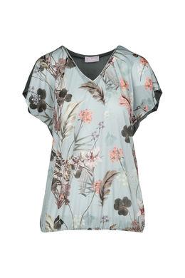 T-shirt imprimé fleuri, Vert d'Eau