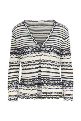 Cardigan in opengewerkt tricot, Marineblauw