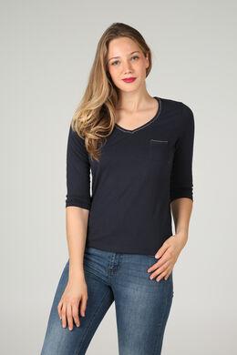 Effen T-shirt met een kettinkje, Marineblauw