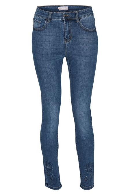 Jeans versierd met strassteentjes - Denim