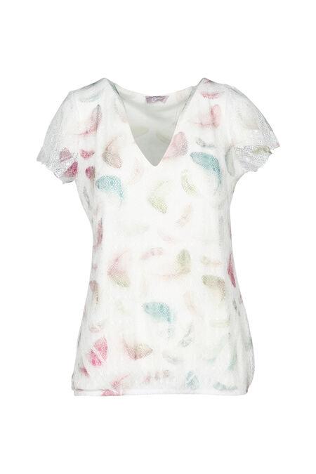 T-shirt in bedrukte kant - Ecru