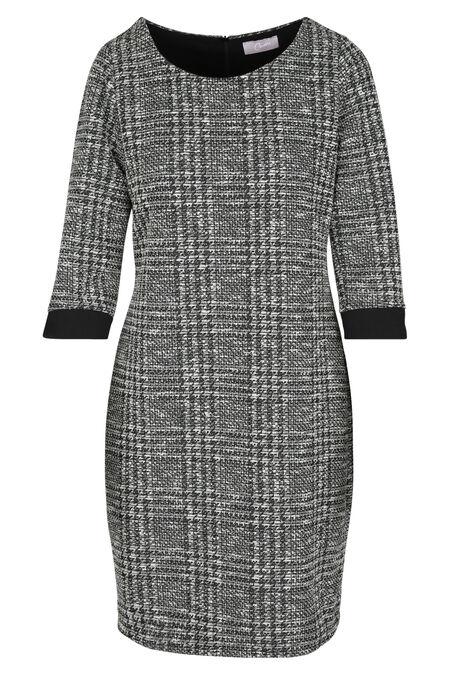 Jurk in warm tricot met lurex - Zwart/Ecru