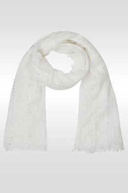 Effen en gestreepte foulard met lovertjes, Ecru