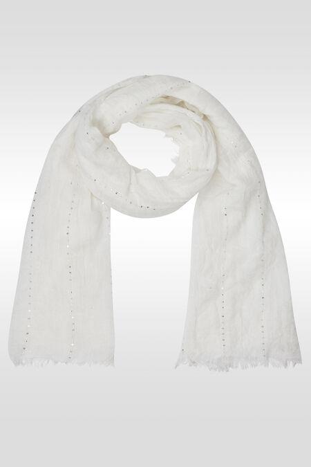 Effen en gestreepte foulard met lovertjes - Ecru