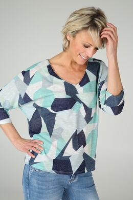 T-shirt met lurex en geometrische print, Appelblauwzeegroen