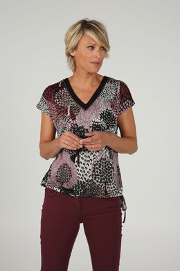 T-shirt met wildprint, Bordeaux