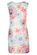 Jurk in tricot met volants en een bloemenprint, Roze