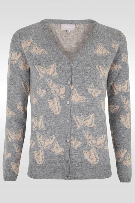 Cardigan col V dessin papillon - Gris perle