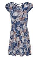 Jurk met bloemenprint, Marineblauw