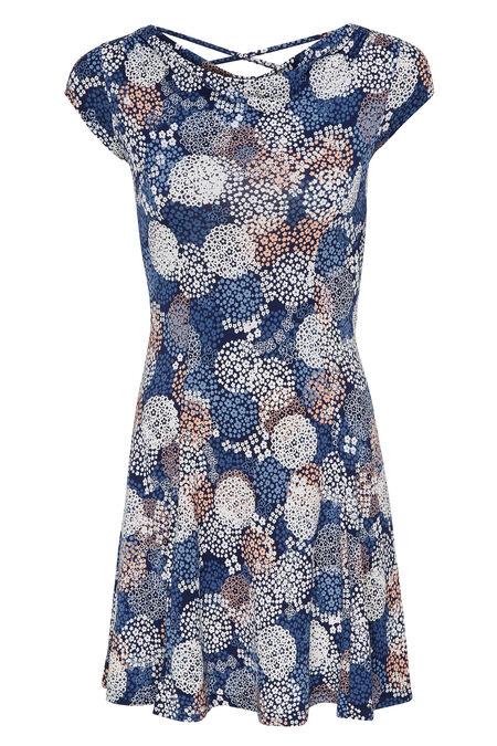 Jurk met bloemenprint - Marineblauw