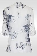 Tuniekbloes met vlinders en bloemen, Wit