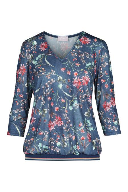 T-shirt met bloemenprint - Blauw