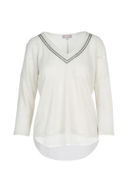 T-shirt met 3/4-mouwen in lurextricot - Ecru