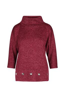 T-shirt in warm tricot met rolkraag, Bordeaux