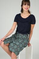 T-shirt met volants, Marineblauw