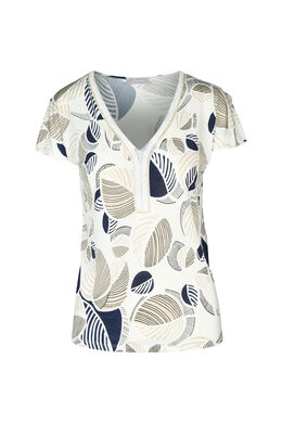 T-shirt met kralenkraag, Ecru