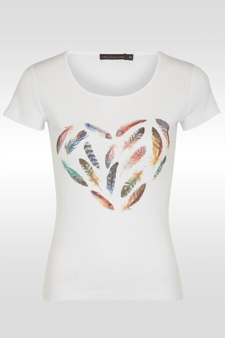 T-shirt met pluimenprint - Wit