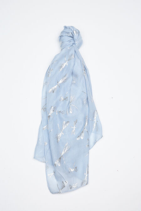 Foulard met libellenprint - Lichtblauw