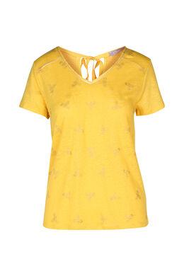 T-shirt à dessins plumes, Ocre