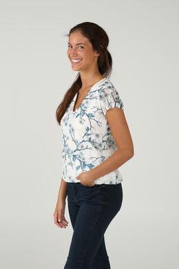 T-shirt in bedrukte kant, Blauw