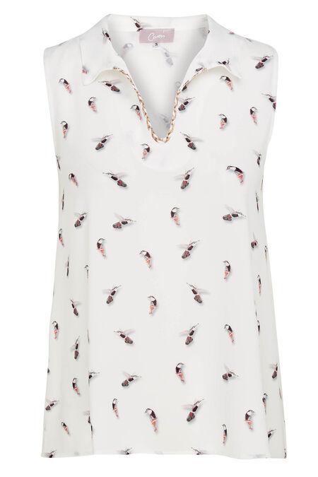 Mouwloze bloes met kolibries - Ecru