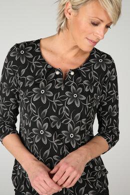 T-shirt met bloemenprint in gom, Zwart/Ecru