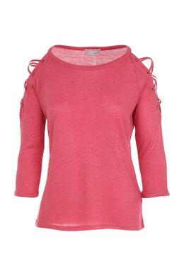 T-shirt avec un laçage et œillets aux épaules, Framboise