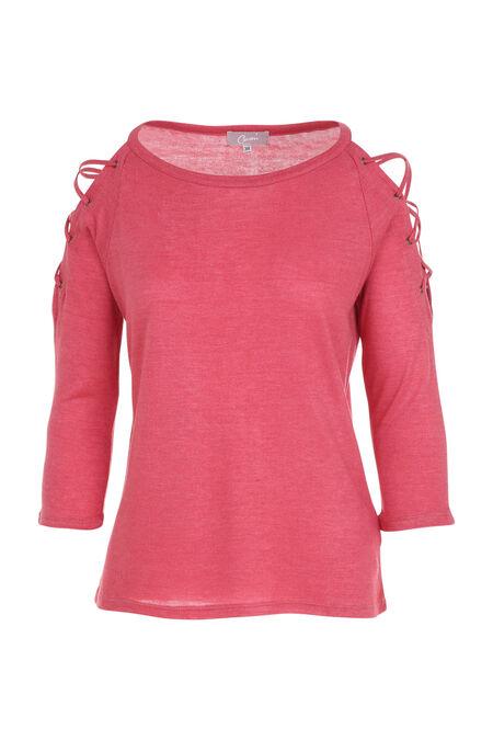 T-shirt met rijglinten en ringetjes aan de schouders - Framboos