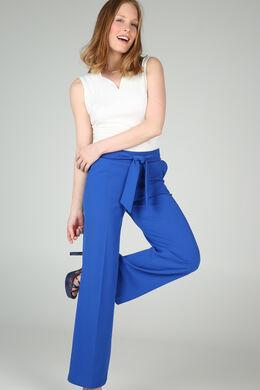 Pantalon large avec ceinture, Bleu royal