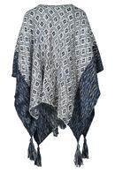 Poncho in tricot, Marineblauw