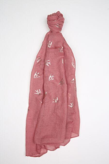 Foulard imprimé hirondelles - Vieux rose