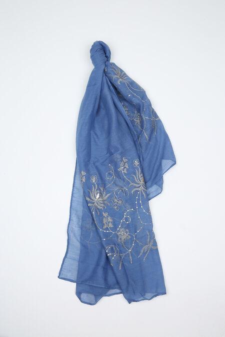 Foulard brodé de fleurs et de sequins - Bleu