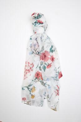 Bedrukte foulard met lovertjes, Ecru