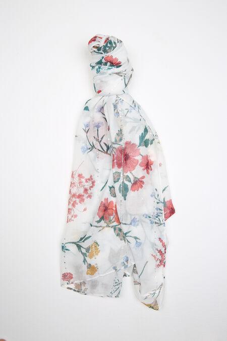 Bedrukte foulard met lovertjes - Ecru