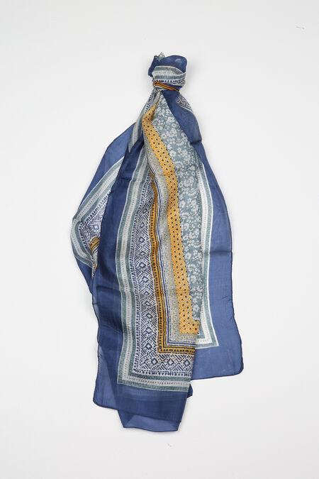 Bedrukte zijden foulard - Marineblauw