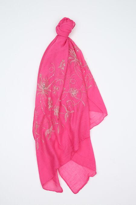 Foulard brodé de fleurs et de sequins - Fushia