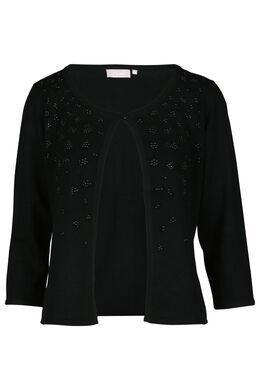 Open cardigan met strasbloemen, Zwart