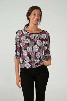 T-shirt imprimé de rosaces, Prune
