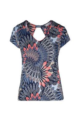 T-shirt in koel tricot met pluimenprint, Abrikoos