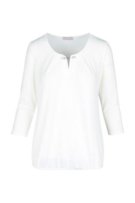 T-shirt met halsjuweel - Ecru