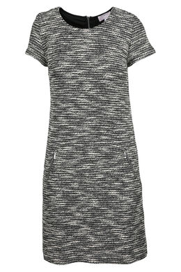 Wollen jurk met lurexgaren, Zwart/Ecru