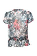 T-shirt imprimé de feuilles et fleurs, Framboise