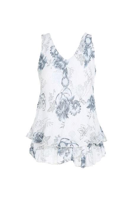 Mouwloze top met bloemen - Wit